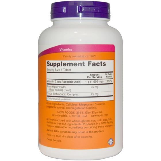 NowFoods Vitamin C-1000 With Rose Hips & Bioflavonoids 250 caps