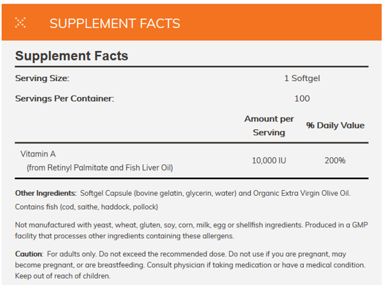 Vitamin A 10.000 IU 100 caps